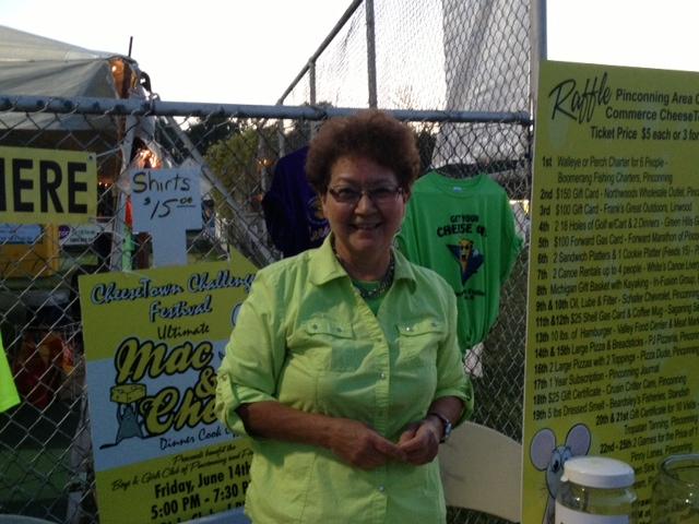 Diane Morley selling raffle tickets